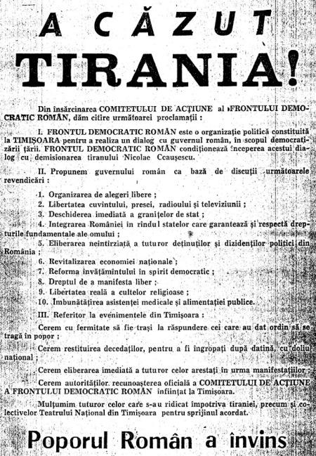 """Manifestul """"A căzut tirania!"""" care cuprinde Proclamația făcută de Lorin Fortuna de la balconul Operei din Timișoara, în 21 decembrie 1989"""