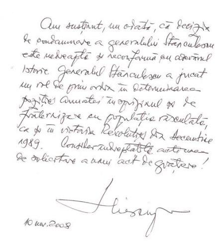 Încă din noiembrie 2008 fostul preşedinte Ion Iliescu a cerut graţierea lui Victor Stănculescu