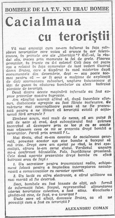 """Alexandru Coman - """"Cacealmaua cu teroriştii"""" în """"Zig-Zag"""" nr. 14/1990"""