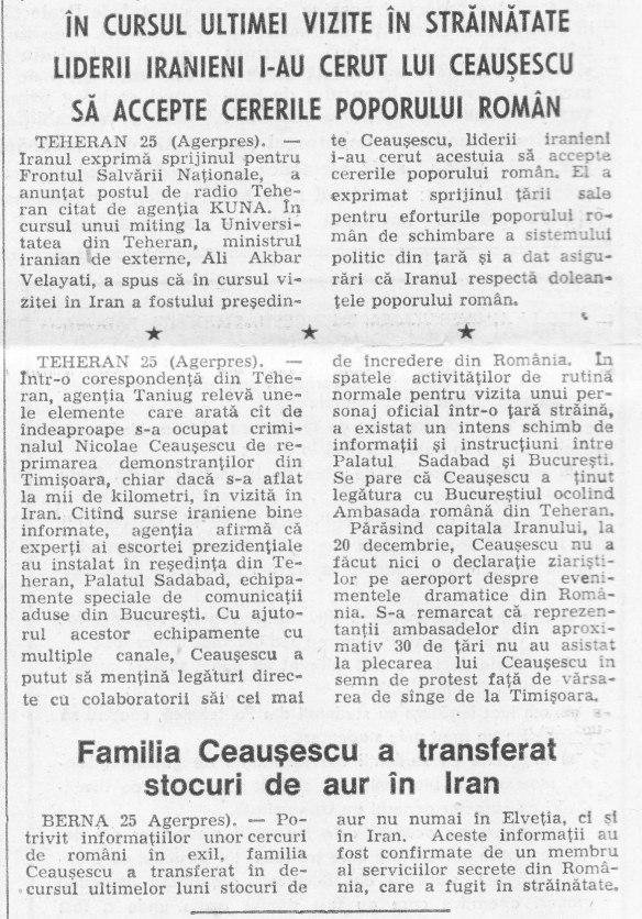 """""""Tineretul Liber"""" din 26 decembrie 1989 despre vizita lui Ceauşescu în Iran"""