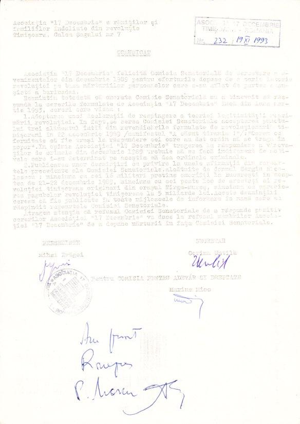comunicat al asociaţiei 17 Decembrie cu semnătură de primire de la agenţia de presă Rompres