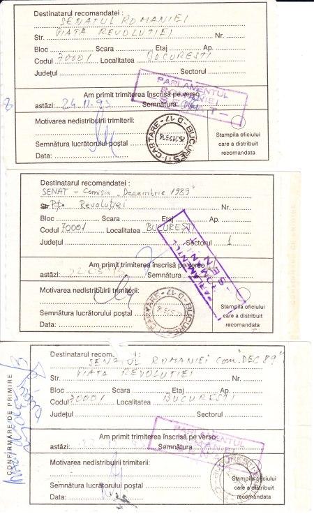 confirmările de primire de la Comisia Senatorială Decembrie 1989 (Gabrielescu avea să spună ulterior că n-a primit comunicatele)