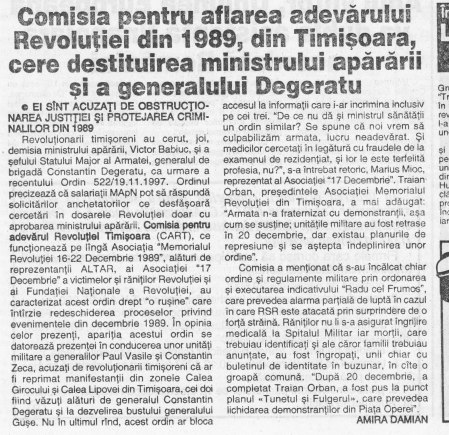 Evenimentul Zilei din 29-30 noiembrie 1997 cu relatarea conferinţei de presă în care am cerut destituirea lui Degeratu