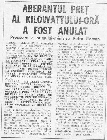 """ziarul """"Adevărul"""" din 29 decembrie 1989"""