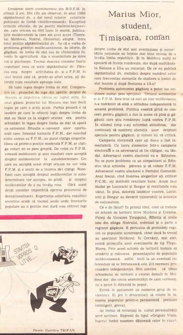 articolul meu din Literatura şi Arta din 10 mai 1990