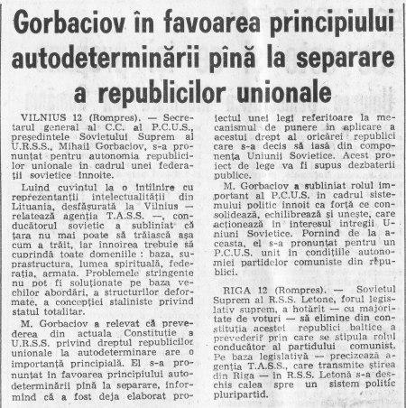 """Ziarul """"Adevărul"""" din 13 ianuarie 1990 - Gorbaciov acceptă dreptul de independenţă a republicilor unionale"""