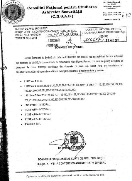 adresa prin care CNSAS înaintase iniţial documentele din dosarul lui Gelu Voican Voiculescu, din care rezultă că unele file din dosar nu fuseseră prezentate