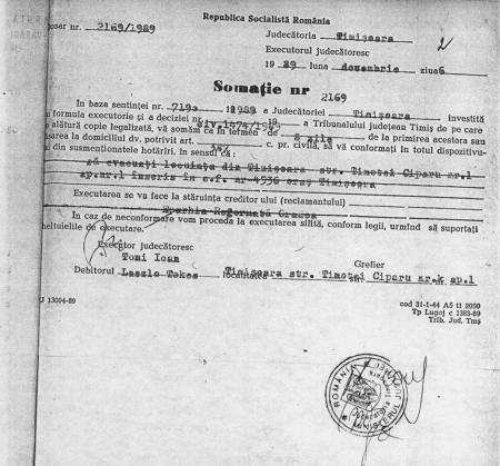 """Somația primită de Tokes de la executorul judecătoresc. Am publicat-o în cartea mea """"Revoluția fără mistere. Începutul revoluției române: cazul Laszlo Tokes"""""""