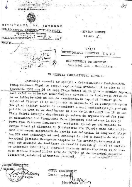 """Document care ar dovedi că planul de provocare a unui miting la Iaşi în 14 decembrie 1989 era o provocare a securităţii. publicat în """"România Liberă din 13 noiembrie 2002 şi în cartea lui Alexandru Tacu. Acesta recunoaşte însă că nu a văzut originalul documentului."""