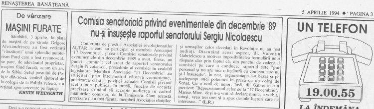 """""""Renaşterea Bănăţeană"""" din 5 aprilie 1994 despre conferinţa de presă a Comisiei Senatoriale Decembrie 1989"""