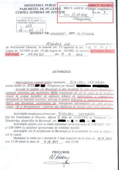 Mandatul de interceptare a convorbirilor telefonice ale lui Bivolaru, emis de Ilie Picioruș, procuror implicat înainte de 1989 și în anchetarea dizidentului Gheorghe Ursu