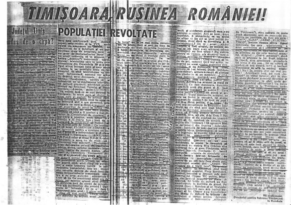 """Articolul din """"România Mare"""" reprodus pe versoul manifestului"""