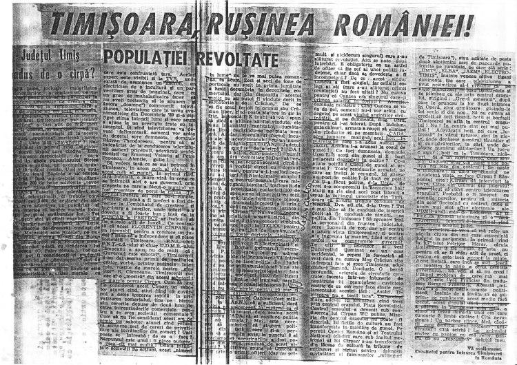 """""""Timişoara, ruşinea României"""", articol în săptămînalul """"România Mare"""" în 1990, ilustrînd timişoreanofobia. Respectivul articol a fost xeroxat şi împrăştiat în Timişoara în decembrie 1990, în perioada grevelor pentru adevărul despre revoluţie, în cadrul unui manifest comun al Forumului Democratic Antitotalitar, Alianţei Civice şi Federaţiei Timişoara a Sindicatelor, cu scopul de a convinge populaţia despre necesitatea grevei. Din acel manifest l-am preluat eu, scuze pentru calitatea proastă a xeroxului."""
