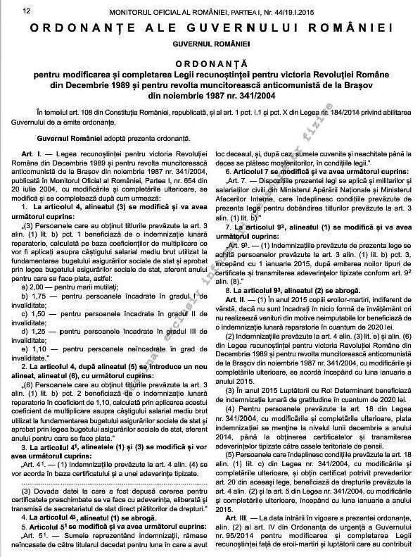 Nouă ordonanţă despre revoluţionari. Răniţii fără invaliditate şi reţinuţii primesc indemnizaţii (1/2)
