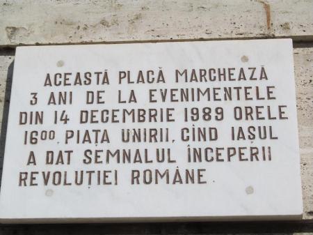 Placă memorială montată la Iași. Sursa foto: pagina facebook a lui Liviu Antonesei