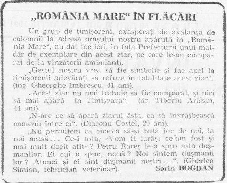 """Ziarul """"Timişoara"""" din 14 martie 1991"""
