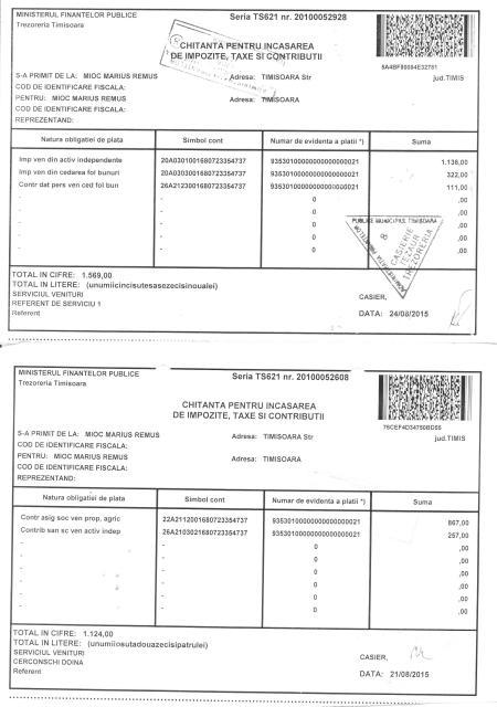 Impozite şi contribuţii obligatorii către stat plătite de mine în august 2015