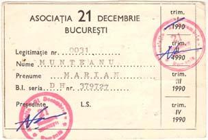 """Legitimaţia de membru al asociaţiei """"21 Decembrie"""" a lui Marian Munteanu. Sursă: Saitul acestuia munteanu.ro"""