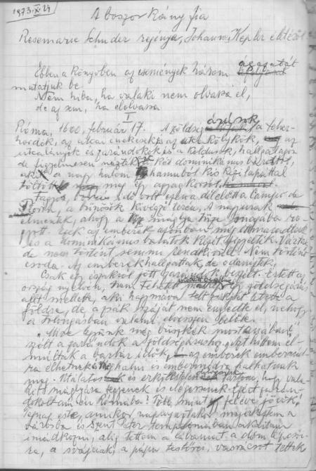 """Manuscris rămas de la bunicul. Traducere în maghiară a romanului """"Fiul vrăjitoarei"""" al scriitoarei germane Rosemarie Schuder"""
